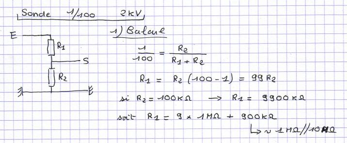 Sonde 2kV 1/100 pour oscilloscope. Sonde-100-2kv-part1