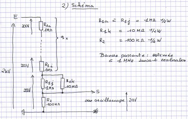 Sonde 2kV 1/100 pour oscilloscope. Sonde-100-2kv-part2